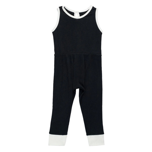 Ribbed Sleeveless Romper, Black
