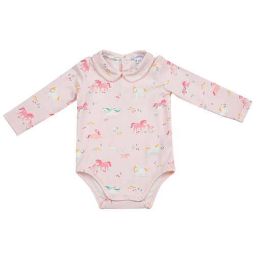 Peter Pan Collar Bodysuit, Pink Ponies