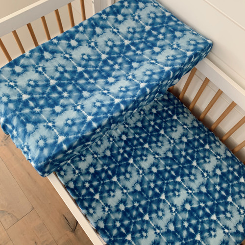 Muslin Crib Sheet & Changing Pad Cover Set, Indigo Tie Dye