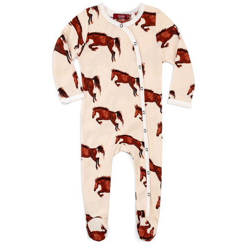 Organic Footed Romper, Natural Horse