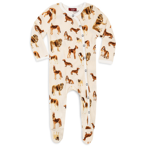 Organic Footed Romper, Natural Dog