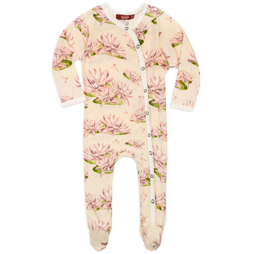 Bamboo Footed Romper, Water Lily