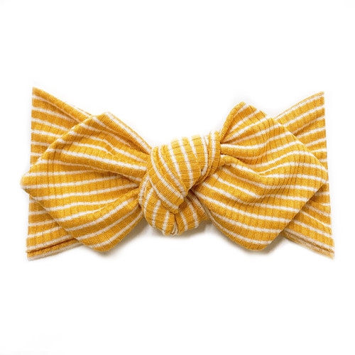 Top Knot Headband, Ribbed Mustard/White Stripe