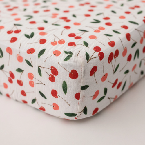 Muslin Crib Sheet, Cherries