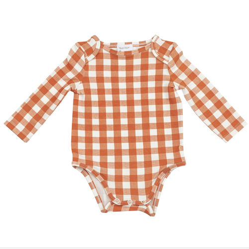 Long Sleeve Bodysuit, Ginham Pumpkin