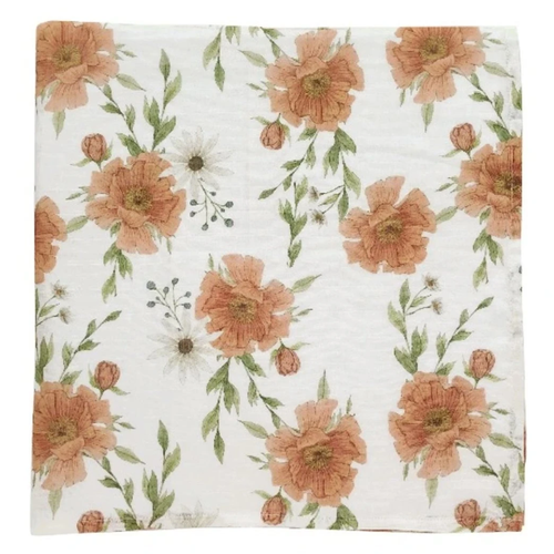 Muslin Swaddle, White Peony Blooms