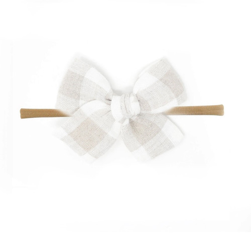 Nylon Headband Bow, Beige Gingham
