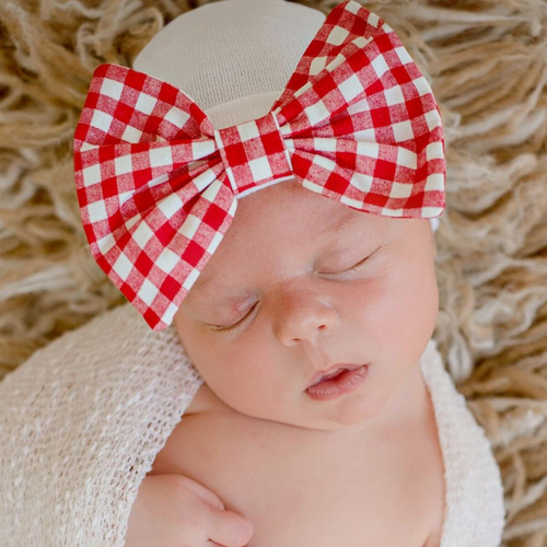 Newborn Bow Hat, Christmas Check