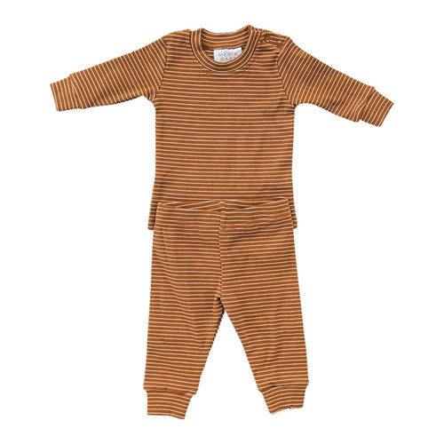 Ribbed Two Piece Set, Rust & White Stripe