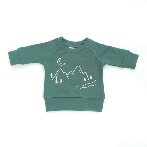 French Terry Crewneck Sweatshirt, Jade Mountains