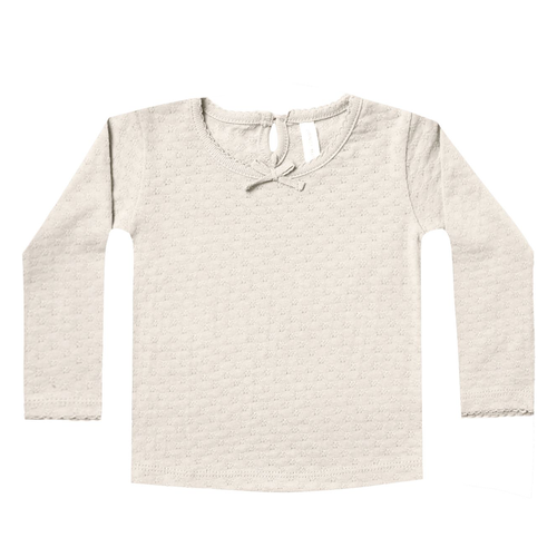 Pointelle Longsleeve Tee, Pebble
