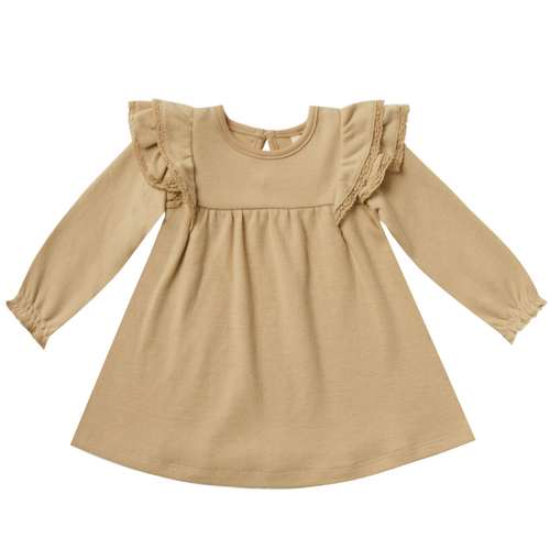 Longsleeve Flutter Dress, Honey