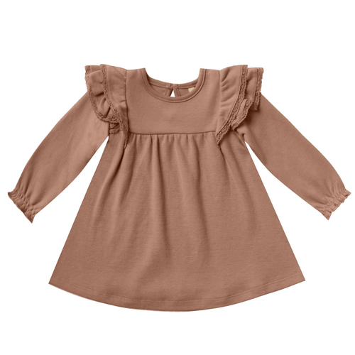 Longsleeve Flutter Dress, Clay