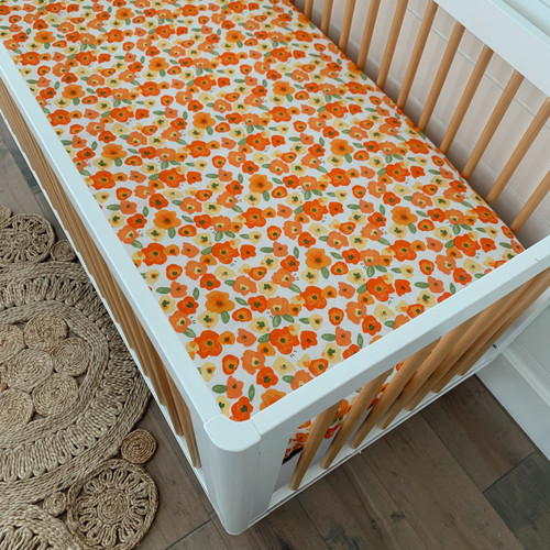 Muslin Crib Sheet, Poppies