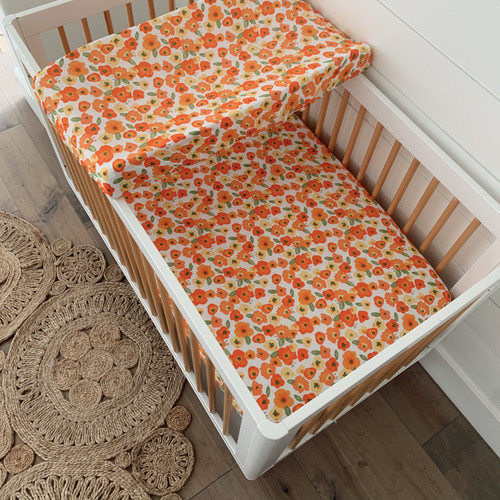 Muslin Crib Sheet & Changing Pad Cover Set, Poppies