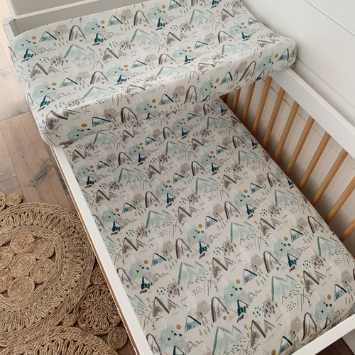 Muslin Crib Sheet & Changing Pad Cover Set, Mountain