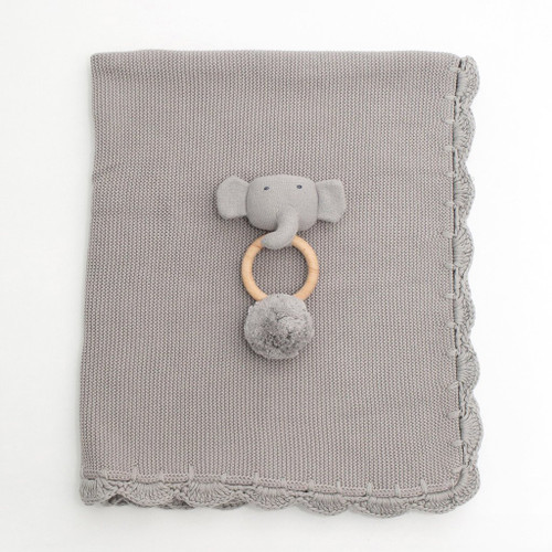 Heirloom Baby Gift Set, Rattle & Blanket Grey