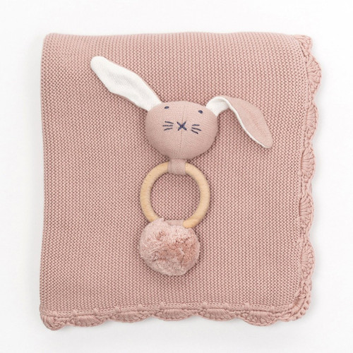 Heirloom Baby Gift Set, Rattle & Blanket Berry