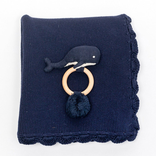 Heirloom Baby Gift Set, Rattle & Blanket Navy