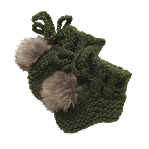 Newborn Pom Booties, Rifle Green
