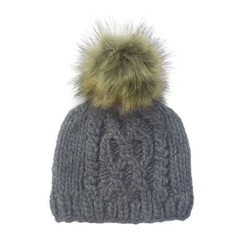 Cable Knit Fur Pom Hat, Zinc