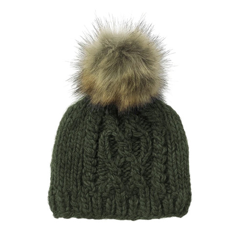 Cable Knit Fur Pom Hat, Rifle Green