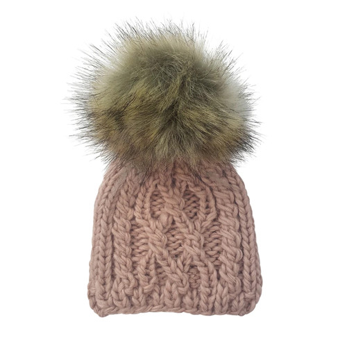 Cable Knit Fur Pom Hat, Blush