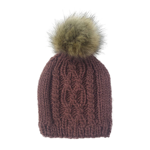 Cable Knit Fur Pom Hat, Mauve