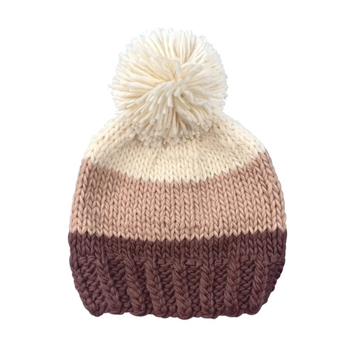 Tri Color Pom Hat, Mauve Blush