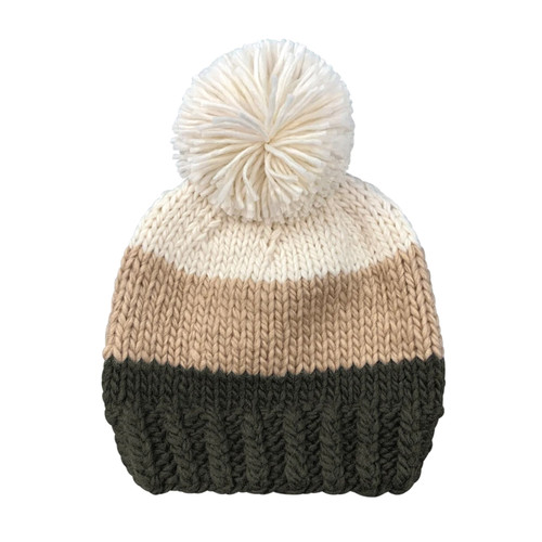 Tri Color Pom Hat, Neutral Green