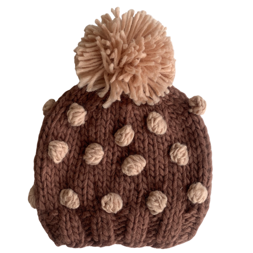 Popcorn Knit Hat, Mauve/Blush
