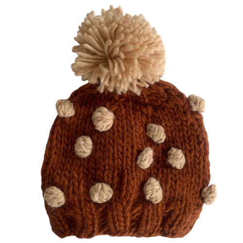 Popcorn Knit Hat, Cinnamon/Latte
