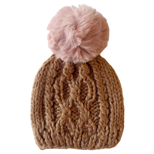 Cable Knit Hat w/ Pink Pom, Pecan