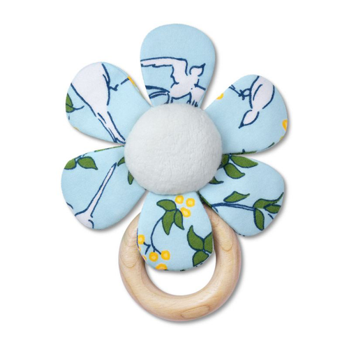 Teething Flower Rattle, Blue