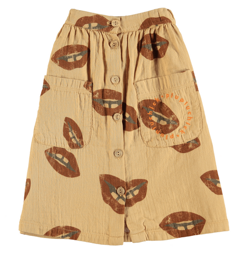 Button Down Long Skirt, Caramel w/ Lips