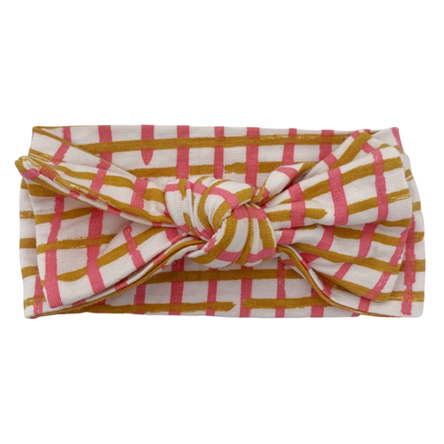Knot Bow, Pink Check