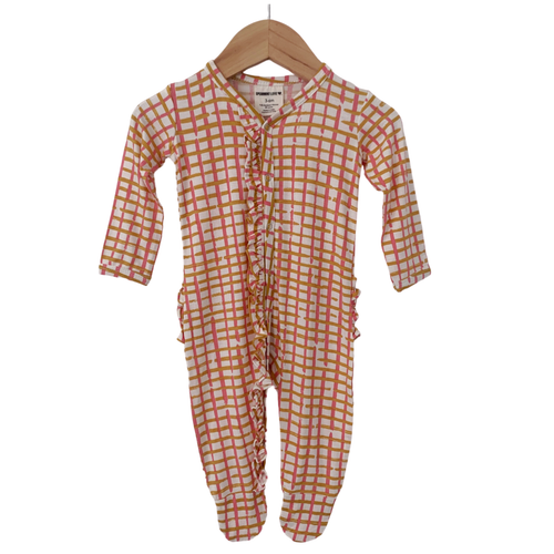 Ruffle Snap Footie, Pink Check