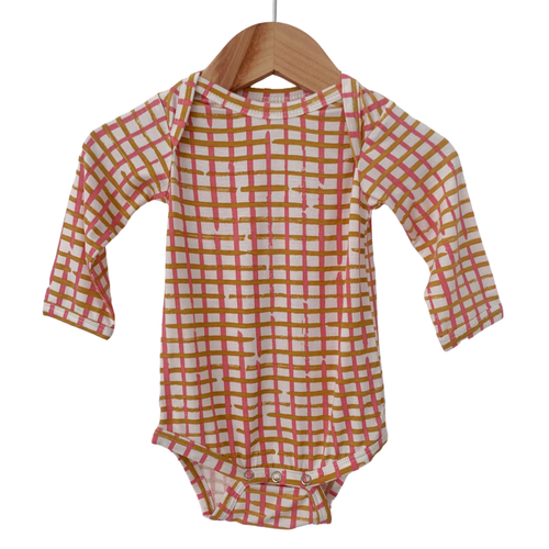 Long Sleeve Bodysuit, Pink Check