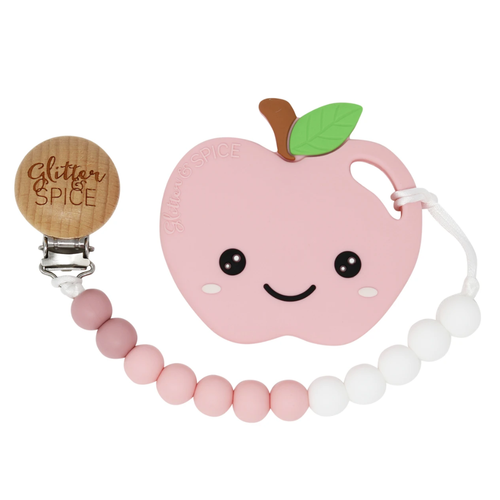 Pink Apple Teether & Clip Set