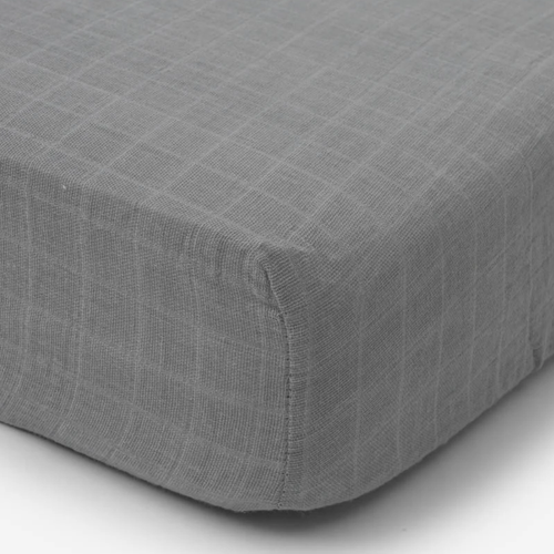 Muslin Fitted Crib Sheet, Nickel