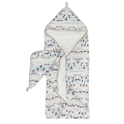 Terry Cloth & Bamboo Hooded Towel Set, Fair Isle