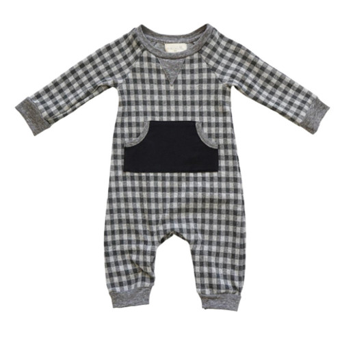 Leo Long Sleeve Romper, Noel Grey Check