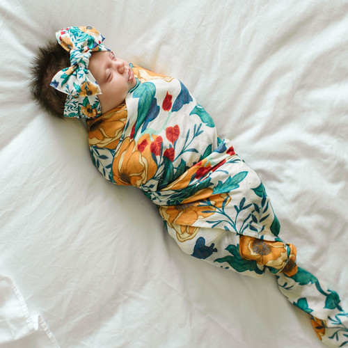 Bow & Swaddle Set, Blue Bell