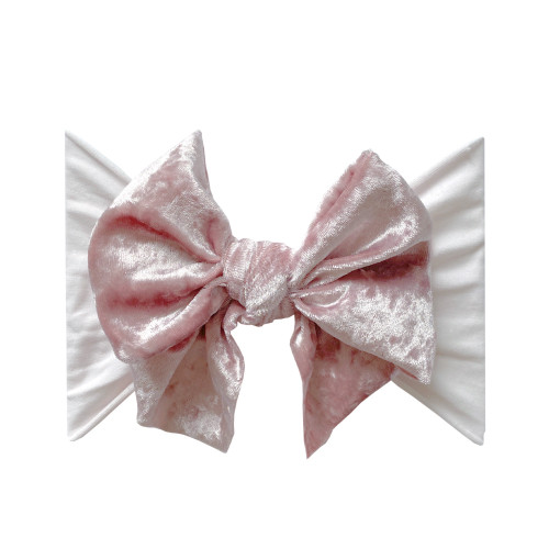 Velvet FAB-BOW-LOUS Bow, Crushed Ballet Pink