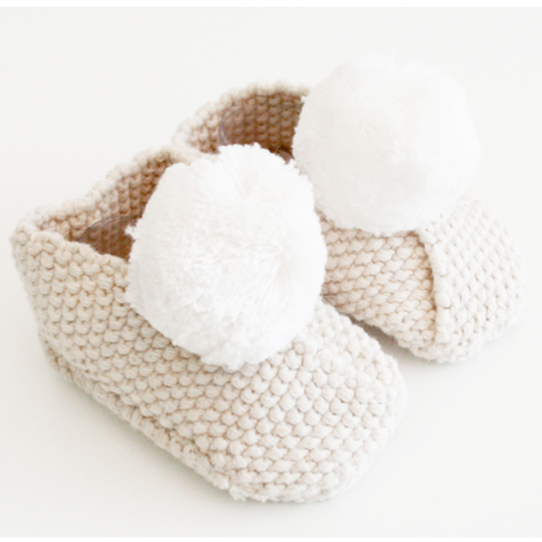 Baby Pom Booties, Oatmeal & Ivory