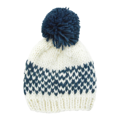 Fair Isle Pom Hat, Denim