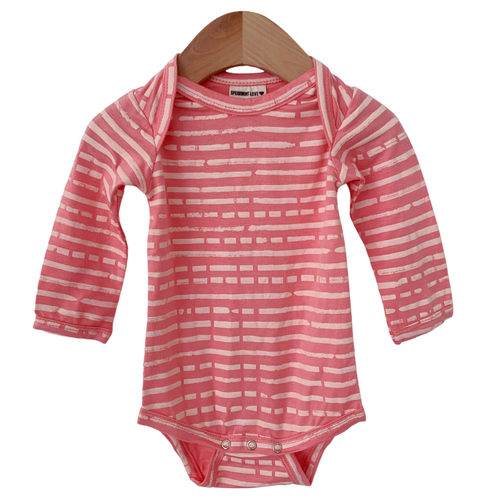 Long Sleeve Bodysuit, Pink Stripe