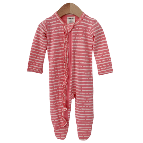 Ruffle Zipper Footie, Pink Stripe