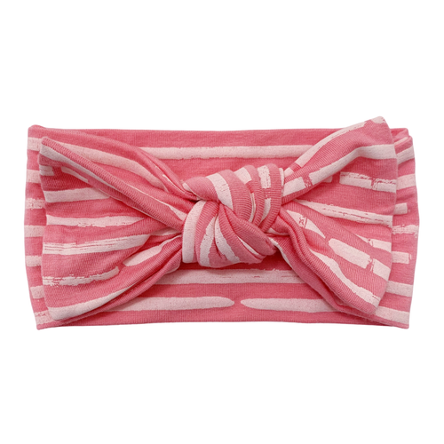 Knot Headband Bow, Pink Stripe