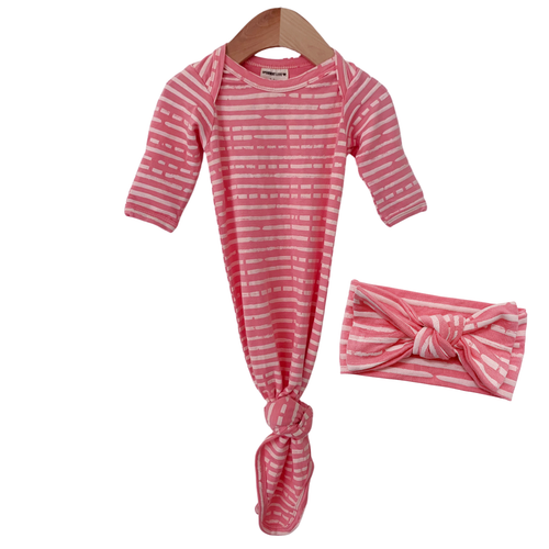 Knotted Gown & Bow Set, Pink Stripe